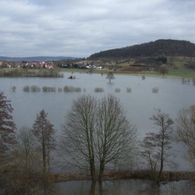 Blick vom Nest Richtung Enzheim bei Hochwasser